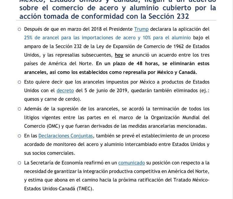 México elimina los aranceles impuestos el 05 de junio de 2018, en represalia a Estados Unidos por los respectivos al acero y al aluminio